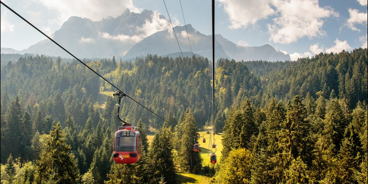 Level 2 cable cars on Mount Pilatus in Kriens Lucerne Switzerland